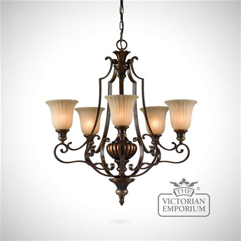 gold and bronze decorative 5 light chandelier