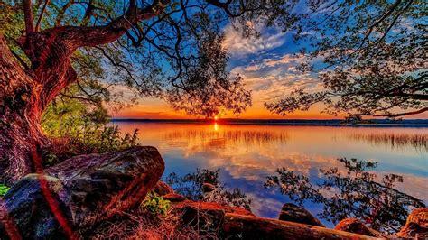 Animated Lake Wallpaper - beautiful hd wallpaper sunset lake willow stones 84318