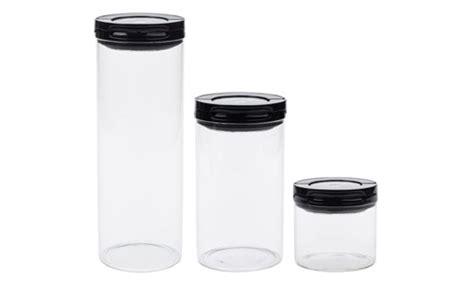 Oxo Steel Fliplock Glass Canister Set, 3-piece Black