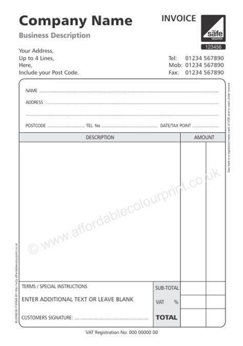 gas safe invoice pads  part  black