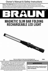 Manual For The 63958 390 Lumen Slim Bar Folding Led Worklight