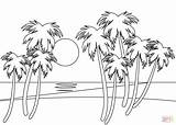 Sunset Line Drawing Coloring Beach Tropical Picturesque sketch template