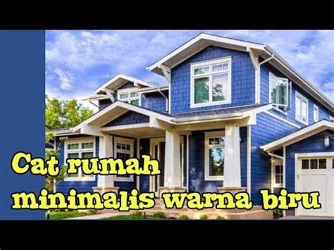 perpaduan warna cat biru rumah minimalis tampak depan