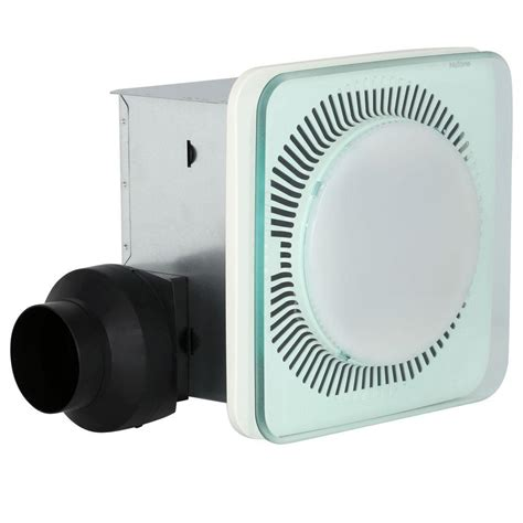 bathroom exhaust fan with light home depot nutone lunaura square panel decorative white 110 cfm