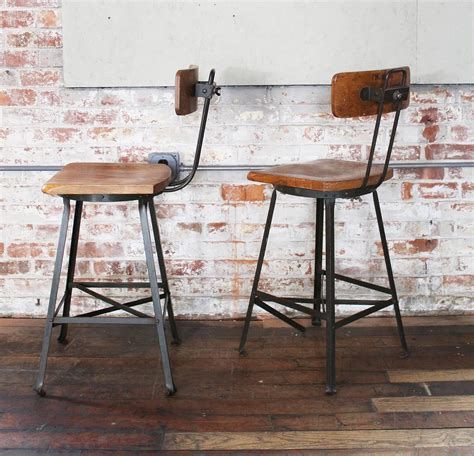 metal counter height bar stools with backs pair of vintage industrial wood and metal bar stools for