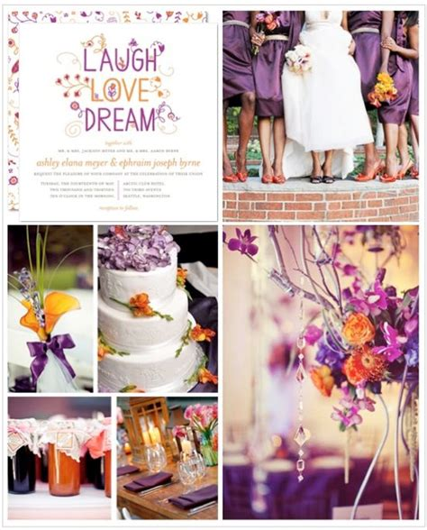 orange and purple wedding inspiration board purple orange weddings purple wedding colors and