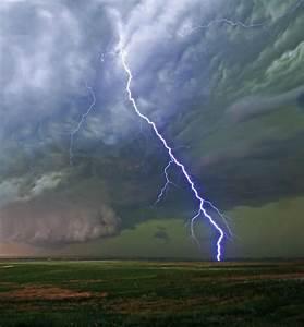 Shocking-A lightning bolt from a tornado warned storm near ...