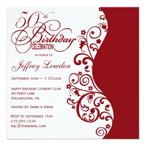 Red & White 50th Birthday Party Invitation  Zazzle. Wedding Reception Table Decorations. Girls Room Decoration. Boho Chic House Decor. How To Soundproof Room. Tile Floors In Living Room. Pebble Stone Decoration. Camouflage Party Decorations. Decorative Nail