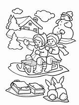 Coloring Winter Pages Printable Children Seasons Sledge Sledding sketch template