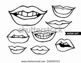 Lips Vector Coloring Kissing Sketch Drawing Template Shutterstock Adult Bandit Illustration Pages Isolated Woman Tooth Parted Comics sketch template
