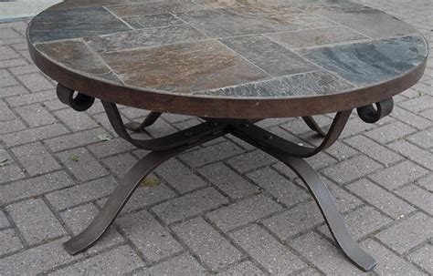 round wrought iron coffee table paul kingma style wrought iron and slate round coffee