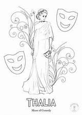 Greek Coloring Mythology Muses Goddesses Gods Drawing Nine Muse sketch template
