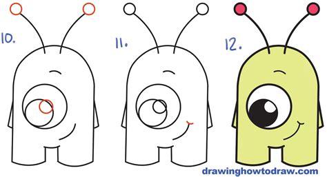 draw cute cartoon alien  numbers  easy step