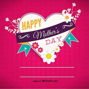 Heart shaped Mother's Day card Vector | Free Download
