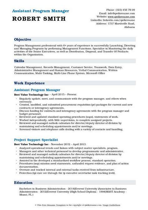 Resume Programs by Assistant Program Manager Resume Sles Qwikresume