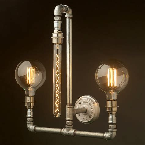 plumbing pipe wall l e27 with 3 lights