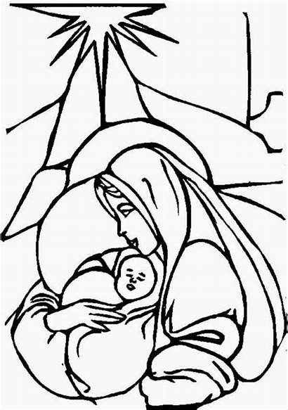Jesus Pages Coloring Mary Christmas Clipart Christian