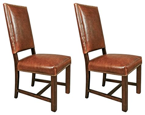 saddle weldon leather side chairs pair contemporary