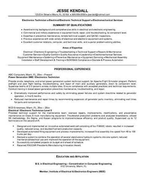 E Resumes by Here Is A Sle Of An Electronics Technician Resume