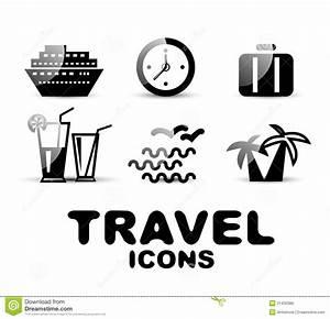 Black Glossy Travel Icon Set Stock Photo - Image: 31430386