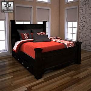 Ashley Shay Queen Poster Bed With Storage By Humster3d