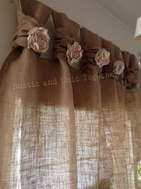 burlap curtains tea dyed rosettes wide tabs rustik