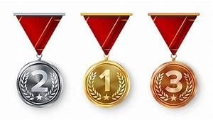 Champion, Medals, Set, Vector, Metal, Realistic, First, Second