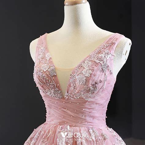 Classy Pearl Pink Evening Dresses 2020 A-Line / Princess V ...