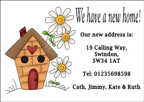 Moving Home Cards Template by Personalised Change Of Address New Home Moving House