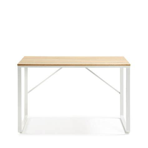 plateau de bureau bois bureau design structure en métal blanc et plateau en bois