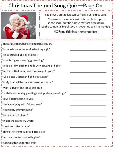 6 Best Images Of Printable Christmas Song Trivia Game  Free Printable Christmas Games, Free