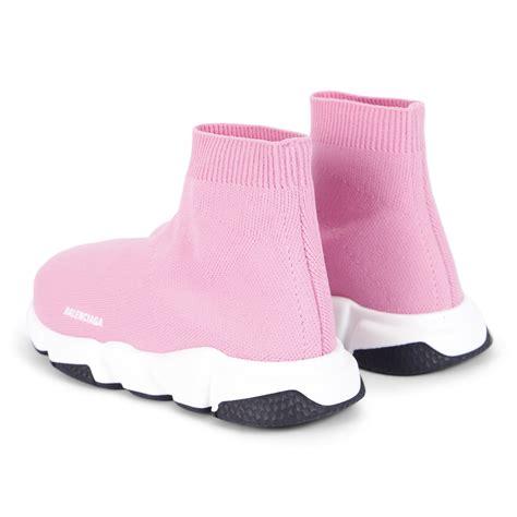 balenciaga monogram knit sock sneakers  pink bambinifashioncom