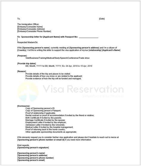 sponsorship letter  schengen visa sle letter