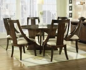8 Piece Contemporary Dining Room Set Dark Brown Wood by Manhattan 7 Piece 56 Inch Round Dining Room Set In Walnut