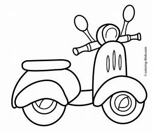 Scooter transportation coloring pages for kids | Coloring ...
