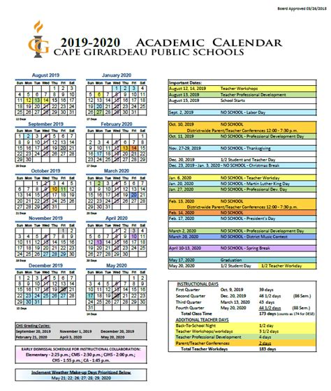 district calendar cape girardeau public schools