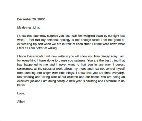 sample apology love letter  documents   word