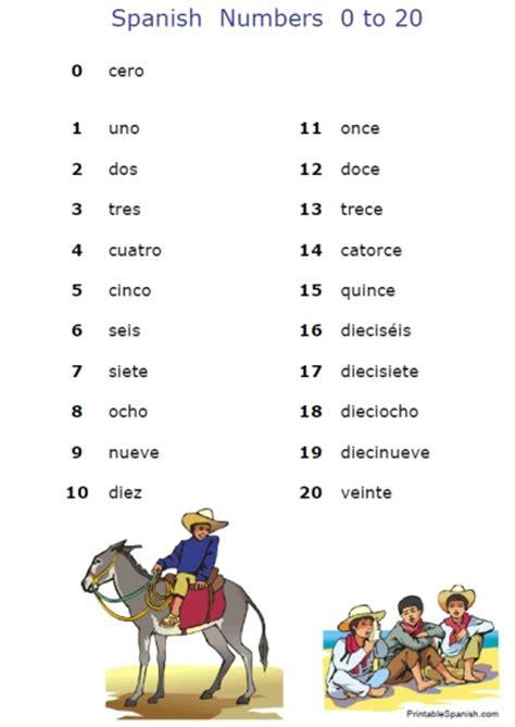 spanish numbers   printable printableecom