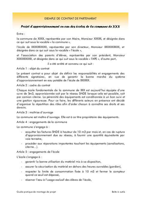 contrat cadre prestation de service exemple contrat de partenariat