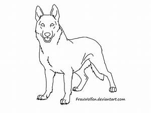 Drawn German Shepherd Simple Pencil And In Color Drawn