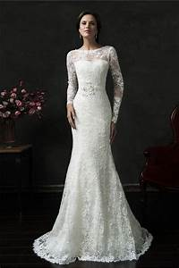Mermaid deep v back long sleeve vintage lace wedding dress for Vintage lace wedding dresses with sleeves