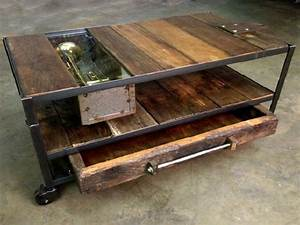 rustic metal and wood coffee table with wheels custom With industrial wood coffee table with wheels