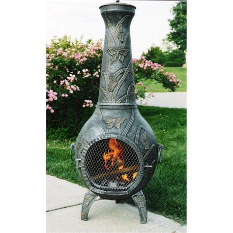 Cast Iron Chiminea Lowes oakland living 54 in h x 20 in d x 23 in w antique pewter