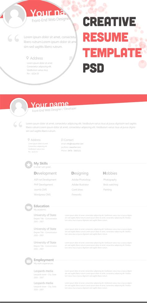 creative resume templates free free creative resume template psd freebie no 67