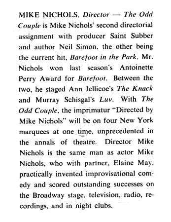 mike nichols the odd couple the odd couple debuted on broadway 50 years ago this