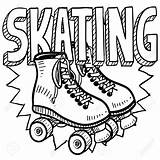 Skating Roller Skates Skate Sketch Illustration Drawing Vector Derby Doodle Coloring Template Skater Sheets Clipart Figure Party Includes Pages Text sketch template