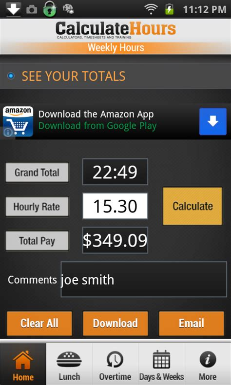 time card calculator timeclock amazoncouk appstore