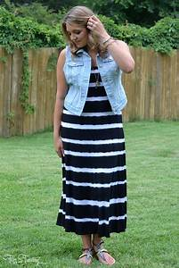 Striped Maxi Dress With Denim Jacket | www.pixshark.com - Images Galleries With A Bite!