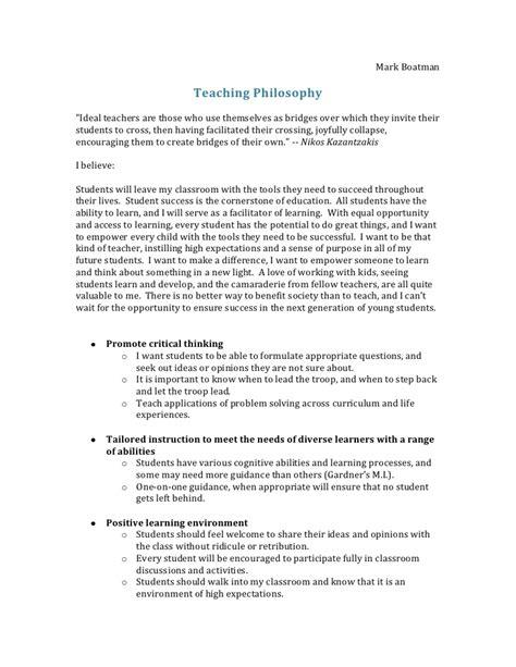 teaching philosophy outline