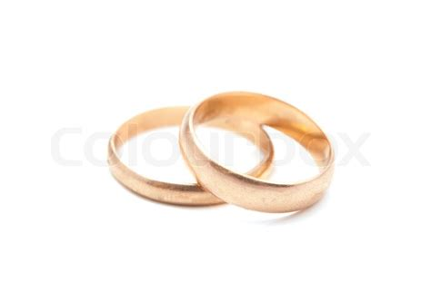 wedding rings on a white background colourbox